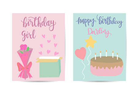 birthday and presents background for greeting card, template and banner Stock Illustratie