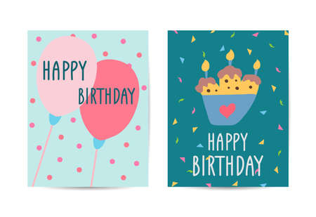 Set of cards Happy Birthday. Collection greeting templates. Invitation cards to the party. Vector banners with cake, balloons.