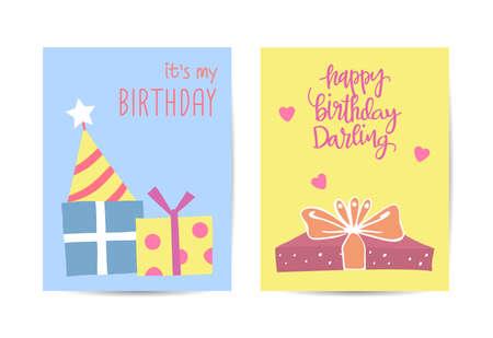 Set of birthday greeting cards design illustration