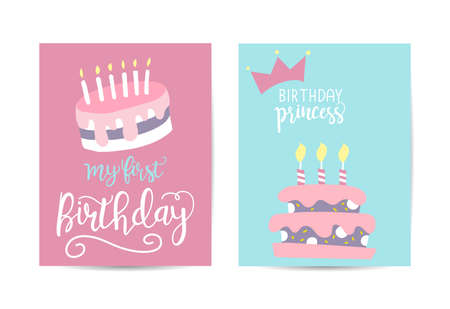 Greeting card happy birthday. Two variants of different color.
