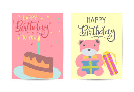 Set of cute creative birthday card templates. Hand Drawn card for birthday, party invitations, scrapbook, summer holidays. Vector illustration in pink, green and turquoise colors