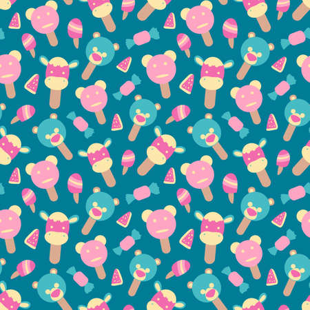 Vector seamless summer pattern with ice cream element Stock Illustratie