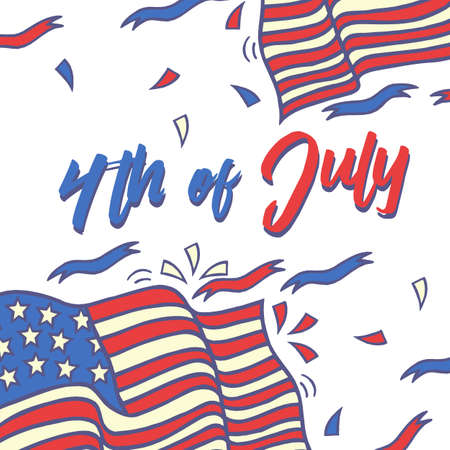 Fourth of July Typography Design Collection - 4th of July - A set of twelve vintage style Independence Day Designs