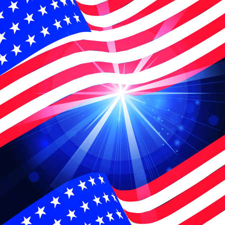 illustration of wavy American Flag for Independence Day Stock Illustratie