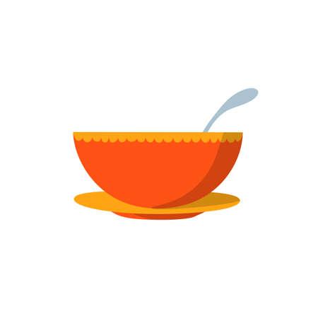 soup bowl flat design vector illustration