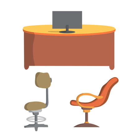 office chair and desk flat design, vector illustration