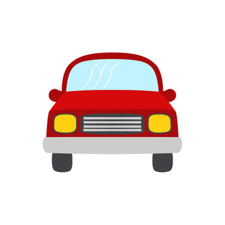 Red color vector illustration car, car isolated on white background, flat style red car front view, simple design vehicle symbol