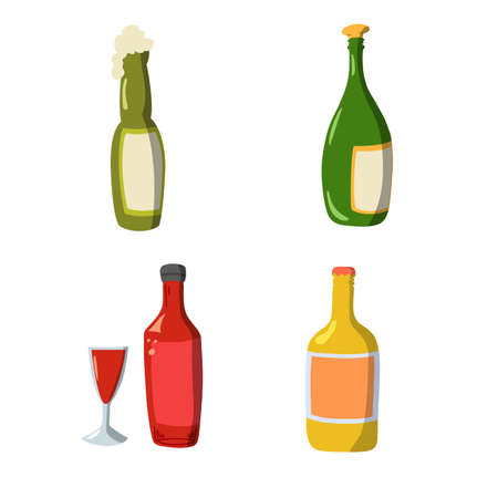 set of wine bottle flat design in Flat design with shadow icons beverage
