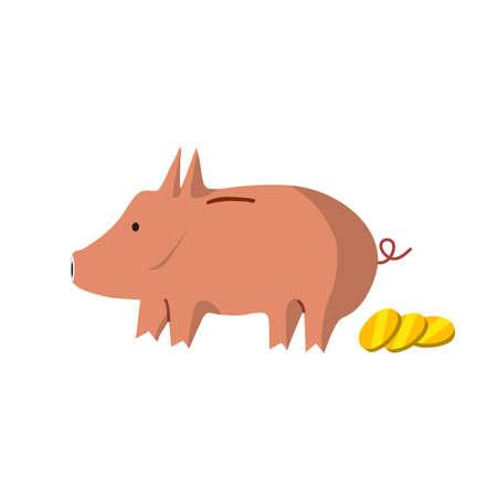 Vector flat piggy bank illustration design