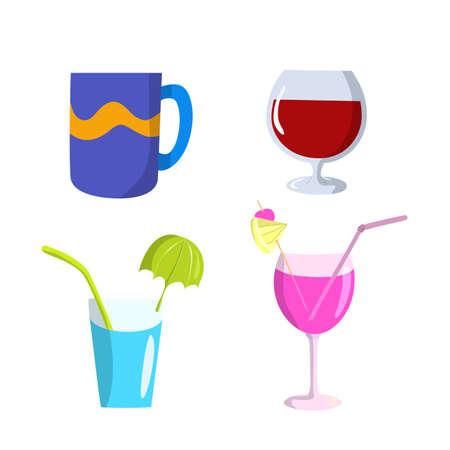 Set of glasses and mug flat design, vector illustration