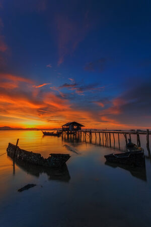 Sunset at Jelutong Jetty, Penang, Malaysia photo