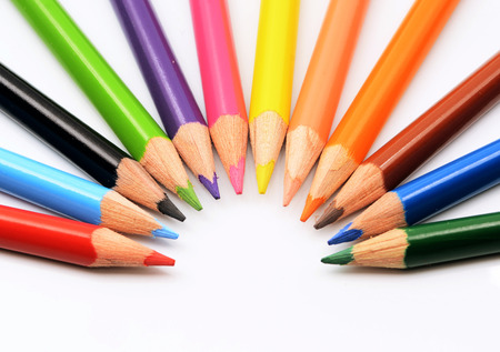 gradation art: color pencils isolated on a white background