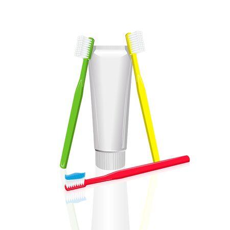 gele en groene tandenborstel zijn vertrouwen op een tube tandpasta, een rode tandenborstel is in reliëf op de haren blauwe tandpasta