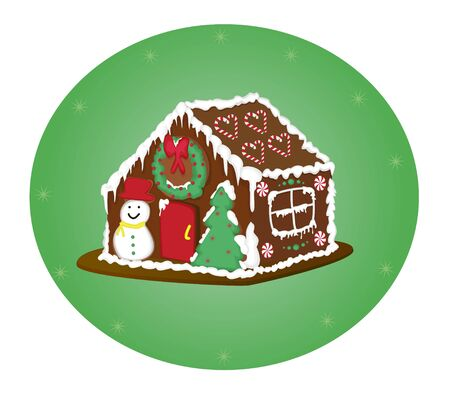 gingerbread house with snowman tree wreath and snow Vector