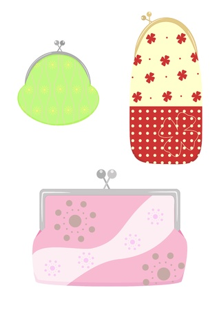clasp: green purse with a clasp, case for glasses with flowers with clasp, pink cosmetic bag with clasp