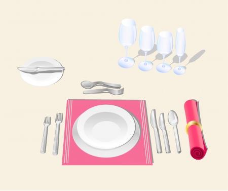 table setting etiquette feestelijke banket tafel Stock Illustratie