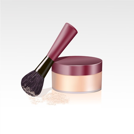 personal care: closeup of face powder and brush isolated