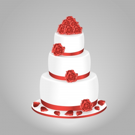 decoracion de pasteles: Torta de boda con rosas rojas aisladas sobre un fondo gris
