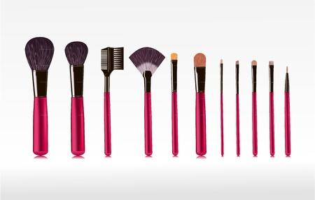 set van borstels voor make-up geà ¯ soleerde vector