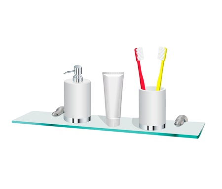 Dispenser for soap, a tube of toothpaste and two toothbrushes in a glass standing on a glass shelf Ilustração