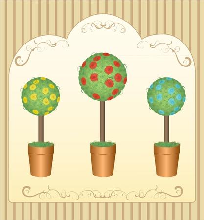 drie ronde bloemen boom potten in bruin Stock Illustratie