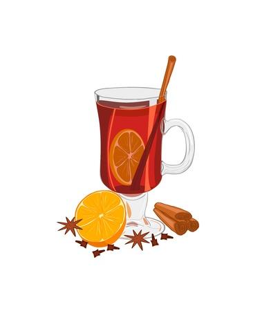 wijn en spijzen: Hot glühwein met sinaasappelen, anijs, piment en kaneel Geïsoleerd op wit