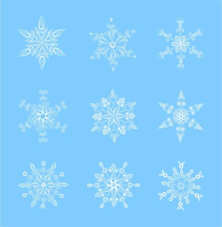 Set of beautiful snowflakes for Christmas  illustration for winter design Vector
