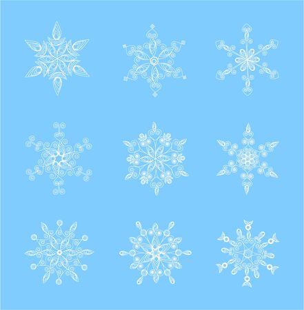 Set van mooie sneeuwvlokken voor Kerstmis illustratie voor de winter het ontwerp