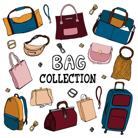 Collection of icons of bags and luggage. Different style of bags ranging from elegant, sports, business and travel bags. Handlettering title - Vector
