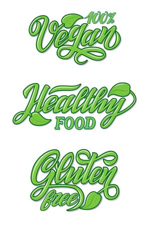 Hand Lettering food design for restaurant, cafe menu. Elements for labels, logos, badges, stickers or icons. Calligraphic and typographic collection. Natural, organic, fresh food