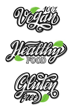 Hand Lettering food design Calligraphic and typographic collection. Natural, organic, fresh food. Black and white