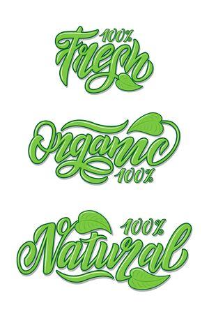 Hand Lettering food design. Natural, organic, fresh food Illustration