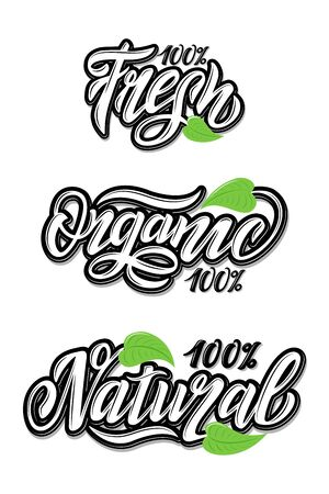 Hand Lettering food design. Natural, organic, fresh food. Black and white