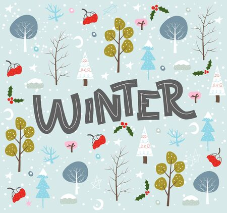 Lettering hand drawn winter set of doodles background Ilustração
