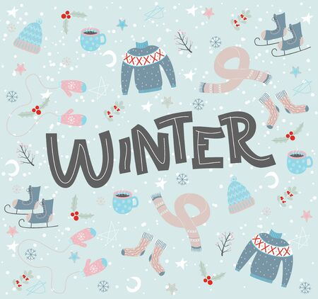 Winter lettering composition. Doodle Drawings Clothing Set Blue Background Ilustração