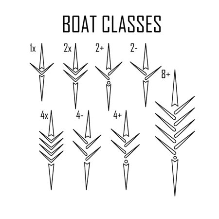 rowing boat icon set isolated whit names Stock Illustratie