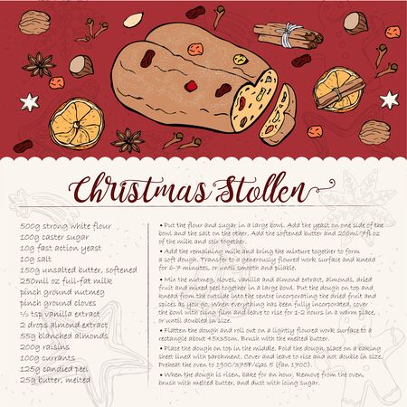 traditional Christmas stollen recipe with candied fruit and nuts. Illustration
