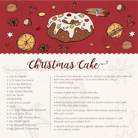 card recipe for a traditional Christmas Cake with candied fruit and nuts, sprinkled with powdered sugar. Decor from candied fruits and spices Imagens - 131853607