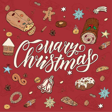 3D Merry Christmas Lettering. Isolated set of various Christmas and winter desserts and sweets. Hand drawn festive doodle background. 向量圖像