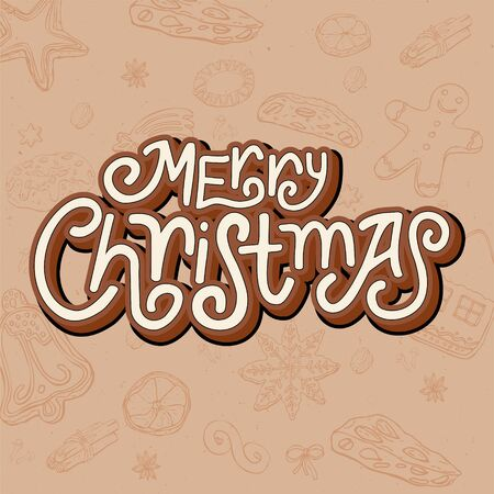 3d hand lettering Merry Christmas. Christmas baking doodle background Ilustração