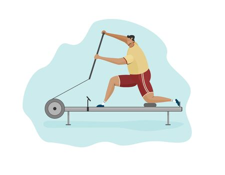 man rower on canoe machine. Characters vector illustration flat design