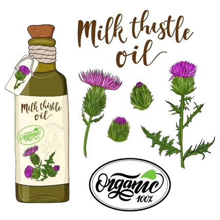 bottle of milk thistle oil and flax flower elements