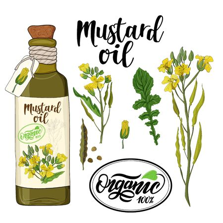 bottle of mustard oil and mustard flower elements