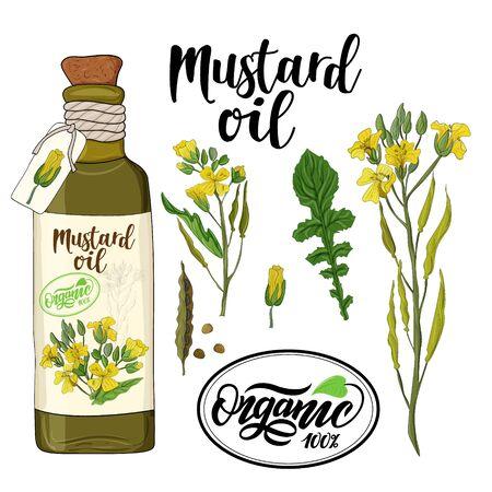 bottle of mustard oil and mustard flower elements