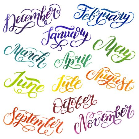 Watercolor calligraphy of the names of the months. On white background Banco de Imagens