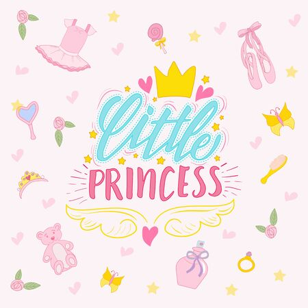 lettering little princess and set of drawn elements for a girl Ilustração