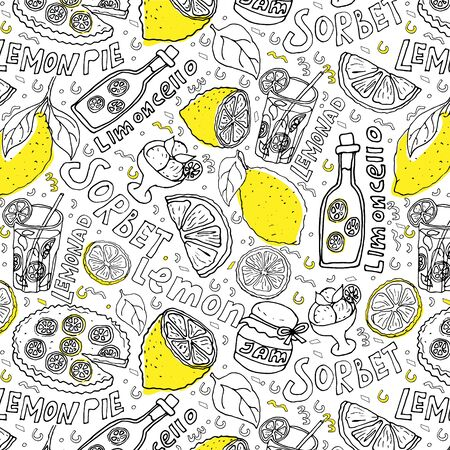 hand draw seamless pattern. lemons and lemon dishes Ilustração