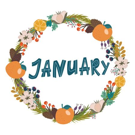 hand drawing lettering month of january in a wreath of flowers and fruits Banco de Imagens - 137562407
