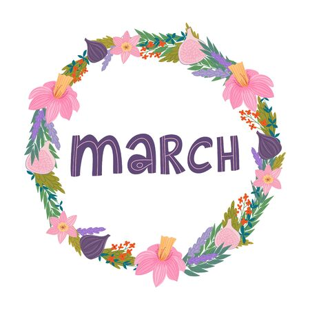 hand drawing lettering month of march in a wreath of flowers and fruits