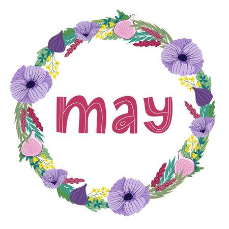 hand drawing lettering month of may in a wreath of flowers and fruits